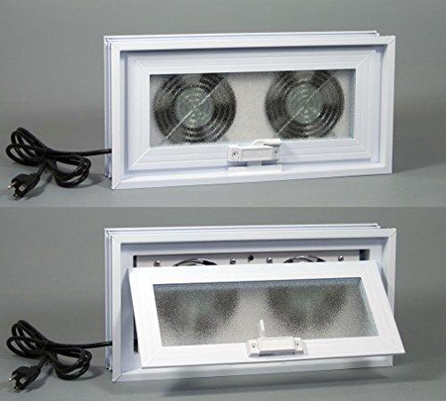 Basement or Crawl Space Window with Fans - 16''w x 8''h (Window & Fans 16''w x 8''h) by Advantage