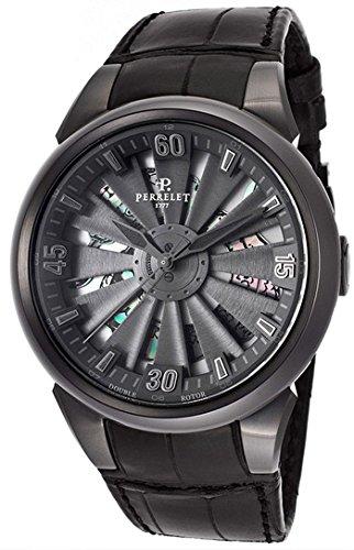Turbina serpiente automático negro Dial Negro Cuero Reloj de hombre: Amazon.es: Relojes