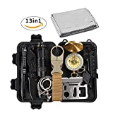 losun Emergency Survival Kit 13 in 1, Outdoor First Aid Kit, SOS Survival Tools for Wilderness Adventures, Trip, Cars, Camping Climbing, Hiking, Biking, Hunting, Disaster Preparedness