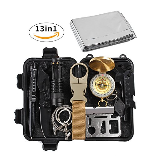 (losun Emergency Survival Kit 13 in 1, Outdoor First Aid Kit, SOS Survival Tools for Wilderness Adventures, Trip, Cars, Camping Climbing, Hiking, Biking, Hunting, Disaster Preparedness)
