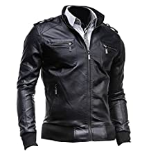 jeansian Men's Stand-Collar Zipper Pockets Leather Jacket Coat Tops 9308 Black M