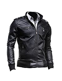 jeansian Men's Stand-Collar Zipper Pockets Leather Jacket Coat Tops 9308 Black M