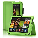 TNP Kindle Fire HDX 7 Case (Green) - Slim Fit Synthetic Leather Folio Cover Stand with Stylus Holder for Amazon Kindle Fire HDX 7