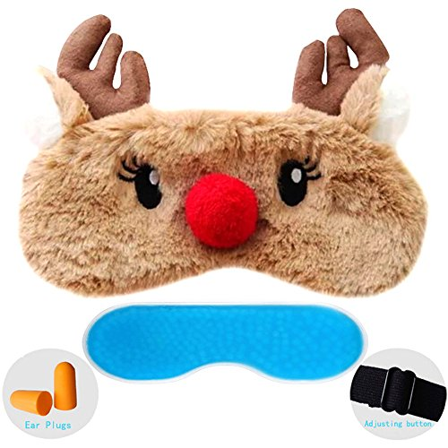 ZHICHEN Silk Eye Mask with Lovely 3D Cute Deer Face Soft & Lightweight Adjustable Sleeping Blindfold for Kids Girls Adult for Yoga, Travel, Sleep, Party [Inclulding Ice Bag, Ear Plugs] (Milu Deer)