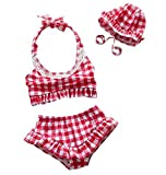 Baby Girls's Swimwear Swimming Clothes Bathing Suit Swimsuit 3 Pcs with Cap Suitable Height <80cm