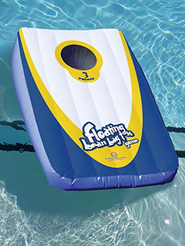 Drive Way Games Floating Cornhole Set. Inflatable Corn-Toss Board & Floating Bean Bags for Pool, Lake, Water