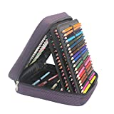 Pshine 160 Slots Large Capacity Handy Deluxe Colored Pencil holder- Pencil Case-Pencil bag-Pencil pouch-Pencil wrap with Zipper (Pencils/Pen Not Included)-Purple