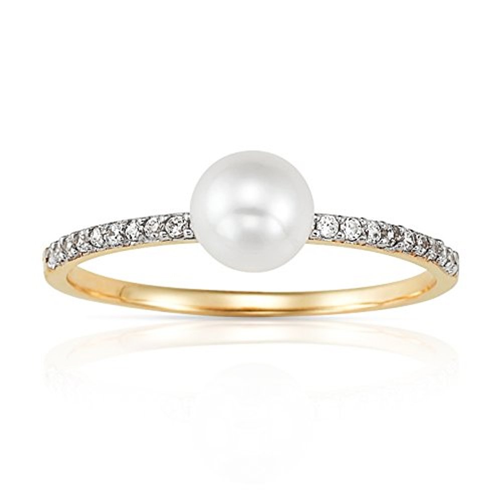 Jewel Connection Stylish White Freshwater Pearl on Stackable Thin Real 14K Yellow Gold Ring Band with CZ Crystal Accents for Women (7.5)