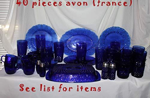 Avon Cobalt Blue Royal Sapphire Salad/dessert Plates Set of 4, France , New in Box