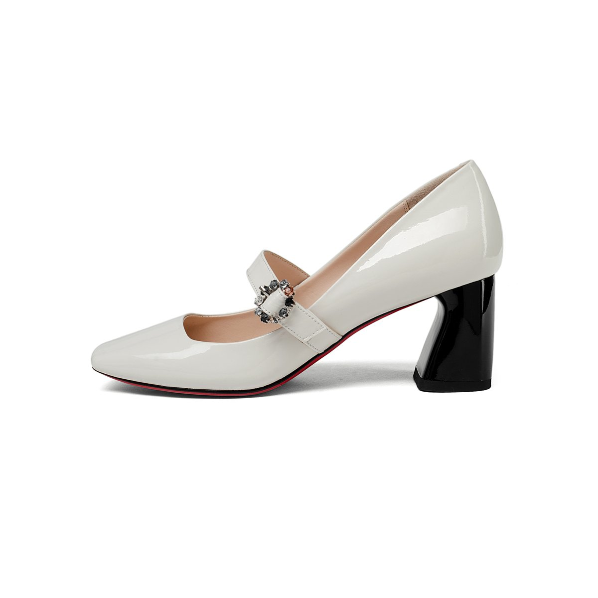 Dulce Diva Patent Leather Square Toe Chunky Mid Heel Buckle Mary Jane Shoes for Women Office