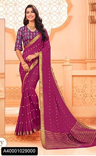 Designer New Casual Wear Art di Georgette Saree Sari con Camicetta Piece of Traditional Ethnic Clothing Abito per Donna Trendy Indian Indian Indian 8116