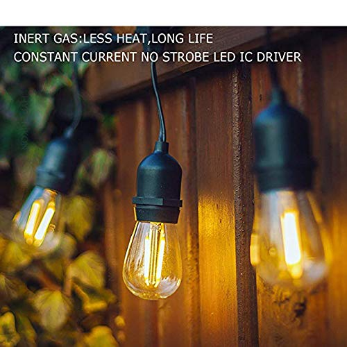NIOSTA 24Ft Outdoor Hanging String Lights with 12 Dimmable LED Vintage  Bulbs Commercial Grade Strand for Market Cafe Bistro Patio Party Tent Porch