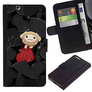 JackGot ( Carino Cuori ) Apple (5.5 inches!!!) iPhone 6+ Plus / 6S+ Plus la tarjeta de Crédito Slots PU Funda de cuero Monedero caso cubierta de piel