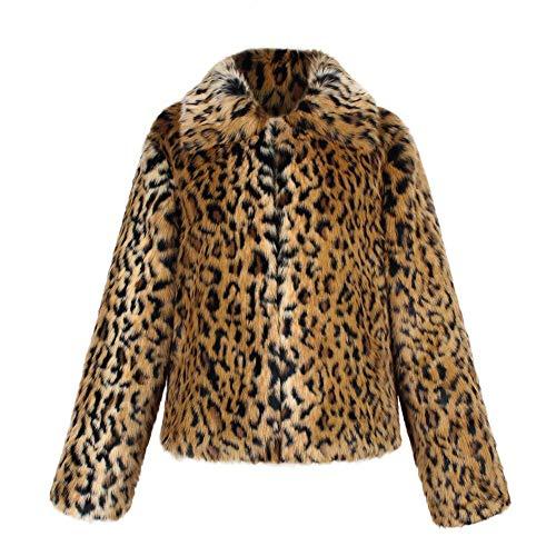 de Warm Mujeres Chaqueta Shaggy Faux de Leopardo Coat Coat Outwear Larga Chaqueta Fur Invierno de StageOnline Corta con Manga Estampado UqYdwcX7