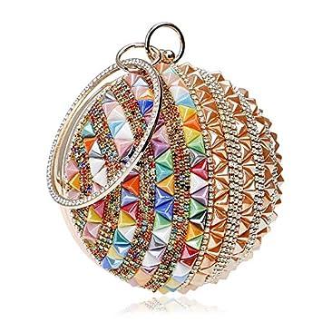 ColorYan Mujer Clutch Las mujeres del bolso de noche del embrague Rhinestone manija del anillo a
