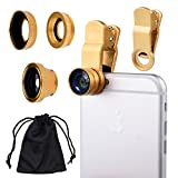 CamKix Universal 3 in 1 Cell Phone Camera Lens Kit for Smartphones including - Fish Eye Lens / 2 in 1 Macro Lens & Wide Angle Lens / Universal Clip / Carry Pouch / Microfiber Cleaning Cloth