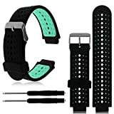 1PC Replacement Silicone Bands With 2PCS Pin Removal Tools For Garmin Forerunner 220/230/235/620/630 (No Tracker, Replacement Bands Only) (Black/Green)