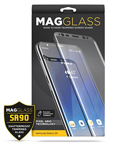 Samsung Galaxy S9 Tempered Glass Screen Protector - Curved MagGlass (SR90 Scratch-proof/Shatterproof)) Full Lens & Sensor Coverage Screen Guard (includes easy-on applicator)