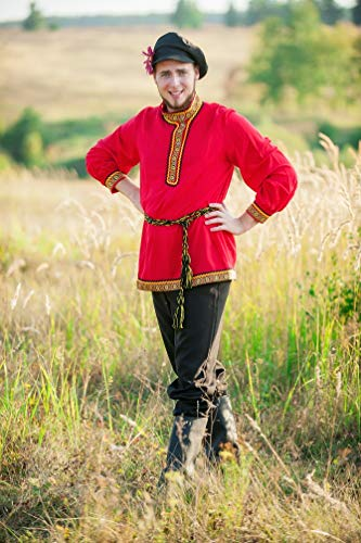 Russian character costume men red national traditional wear dance wear Cossack -