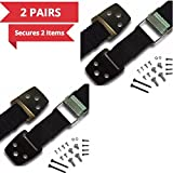 BabyKeeps Anti-Tip Straps - Anchor TV & Furniture to Baby Proof- Heavy Duty Safety Straps with Metal Plates - All Mounting Hardware Included (4 Pack)