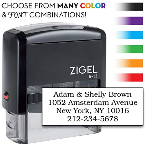 - ZIGEL S-13 Custom Self Inking Stamp, Up to Five Lines of Type - with Extra Replacement Ink Pad