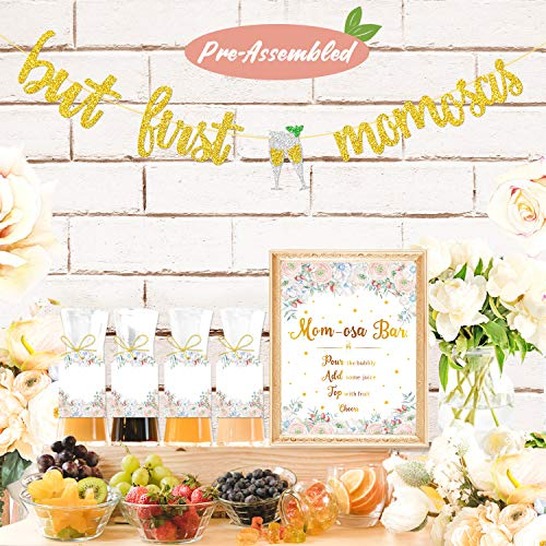(Mimosa Bar Sign But First Mimosas Banner Boho Floral Baby Shower Decorations Baby Sprinkle Party Supplies Glitter Gold Mother's Day Dia de las Madres Decor Mommy to Be Brunch Bubbly Bar Mimosa Bar Kit)