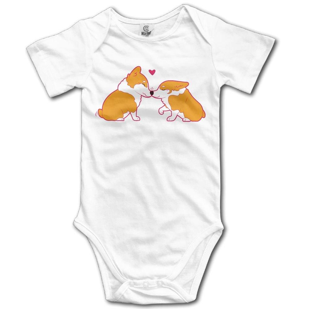 Rainbowhug Kiss Pembroke Corgi Dog Unisex Baby Onesie Cute Newborn Clothes Unique Baby Outfits Comfortable Baby Clothes