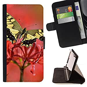 DEVIL CASE - FOR Apple Iphone 5 / 5S - Moth Butterfly Flower Spring Nature - Style PU Leather Case Wallet Flip Stand Flap Closure Cover
