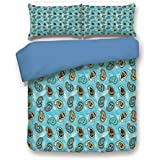 iPrint Duvet Cover Set,Blue Back,Paisley Decor,Abstract Patterned Background with Leaves and Ornamental Design Artwork,Blue and Brown,Decorative 3 Pcs Bedding Set by 2 Pillow Shams,Queen Size