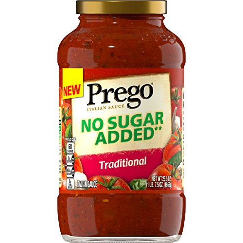 Prego Pasta Sauce, No Sugar Added Traditional, 23.5 oz Jar (Pack of 6)