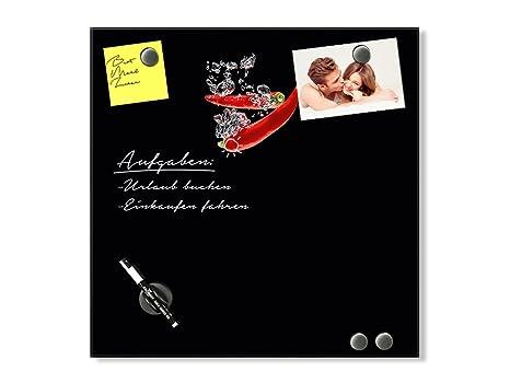 GRAZDesign Magnettafel Küche Schwarz - Tafel zum Beschriften Chili -  Magnettafel Glas Küche / 30x30cm / 502029_30x30_GL_MW