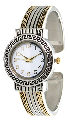(Fashion Watch Wholesale Ladies Western Pattern Design Metal Bangle/Cuff Watch with Round Face Large Numbers (Two Tone))