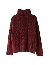 Women's Solid Turtleneck Long Sleeve Sweater Stretchy Cable Knit Outwear