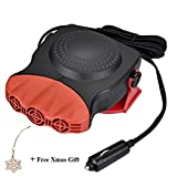Portable Car Heater 30 Seconds Fast Heating Quickly Defrosts Defogger 12V 150W Auto Ceramic Heater Cooling Fan 3-Outlet, Red