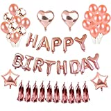 Birthday Decorations Girl , Happy Birthday Banner Balloon Party Rose Gold Balloons Confetti Balloons Foiled Tassel Garland Star Heart Foil Balloon for Women Birthday Party (Rose Gold)