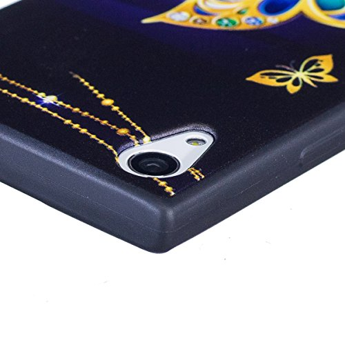 Funda Sony XA 1,SainCat Moda Alta Calidad suave de Relieve Pintura TPU Silicona Suave Funda Carcasa Caso Parachoques Diseño pintado Patrón para Carcasas Sony XA 1 TPU Silicona Flexible Candy Colors Ul Mariposa grande