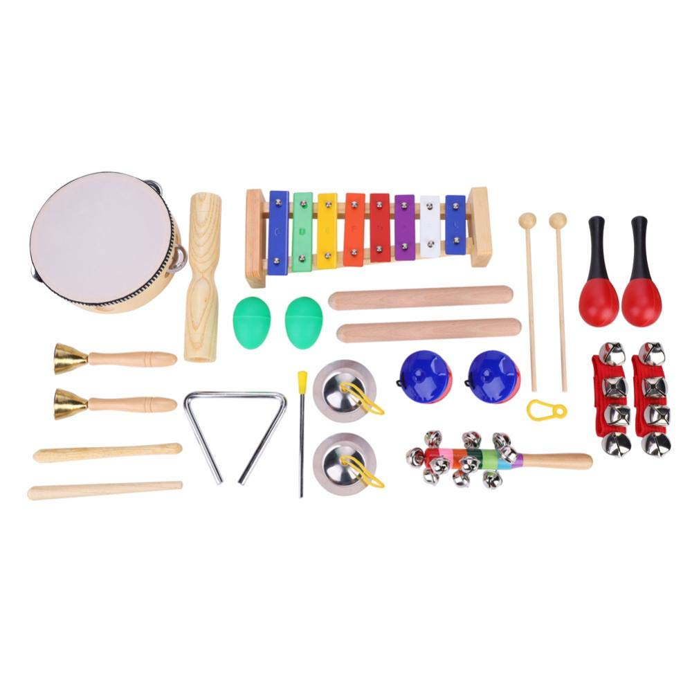 Toddler Musical Instruments, 21 PCS 13 Types Wooden Percussion Instruments with Handbag for Kids Preschool Education, Early Learning