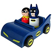 Bif Bang Pow! Batmobile with Classic Batman and Robin Pin Mate Wooden Figure Set