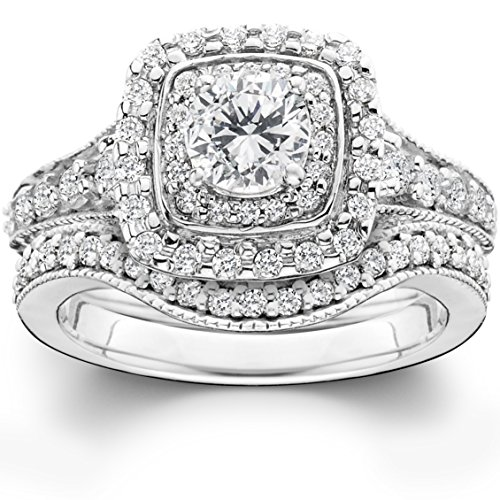 1 3/4ct Double Halo Vintage Style Engagement Wedding Ring Set 14K White Gold by Pompeii3 Inc.