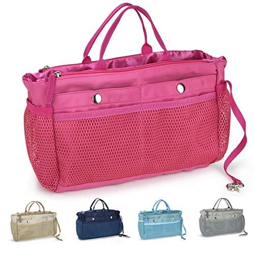 Handbag Organizer Insert 15 Pockets Purse Tote Insert with Convertible Drawstring Pouch (Hot Pink)