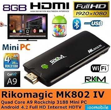 Tanzimarket - TV Box Rikomagic alta calidad MK802 IV Quad Core RK3188 Android Dongle: Amazon.es: Electrónica