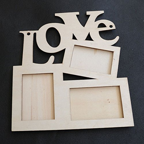 LUQUAN 1Pcs Love Wood Photo Frame White Base Frame Diy Picture Frame by LUQUAN (Image #1)