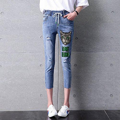 Con Hole Moda Flojo De Summer 4 Cordón New Bordado Jeans 3 Pantalones Harem pqw5O07x