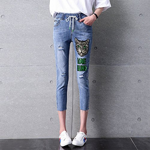 Pantalones Summer Moda New Harem De Cordón 3 Bordado Flojo Jeans Con Hole 4 nHxw7qnB