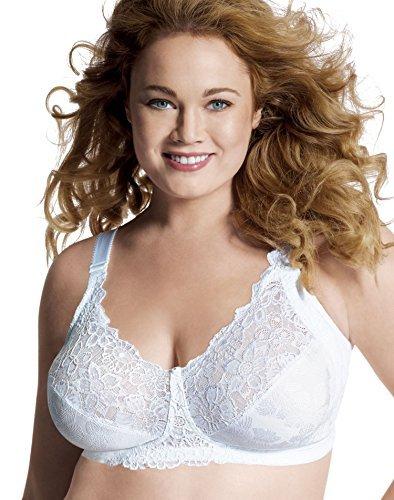 Just My Size Women's Comfort Lace Hidden Shapers Plus Size Bra (1111), White, 46D