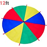 ARELUX 12 Foot Play Parachute for Kids with 8 Handles, Rainbow Parachute Toy for Children Indoor/Outdoor Cooperative Group Games