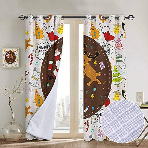 Dancing Santa Reindeer - NUOMANAN Decorative Curtains for Living Room Kids Christmas,Dancing Santa and Reindeer Happy New Year Cute Childish Party Icons Doodle, Multicolor,Blackout Draperies for Bedroom 54