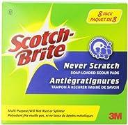 Scotch-Brite Scour Pad, 8 Pack, Soap Loaded, Never Scratch Scrub Pad