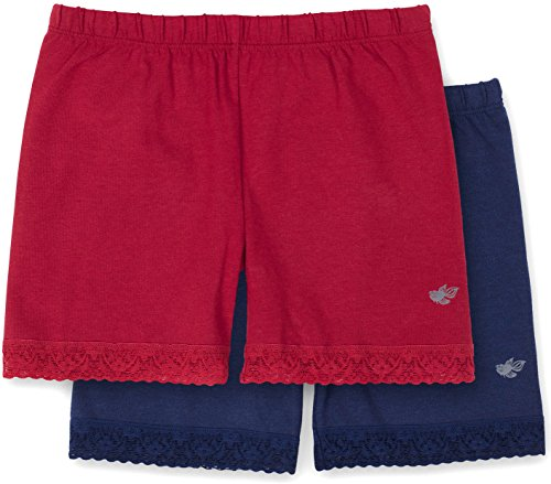 s Shorts Underwear, 2-Pack Underpants for Skirts, Uniforms, Dresses, Red/Navy 9/10 ()