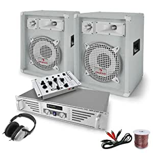 'White Bassalt' Set PA DJ Altavoces Mesa mezclas Amp 1200W